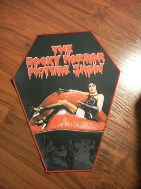 ROCKY HORROR PICTURE SHOW FRANK N' FURTER HUGE COFFIN BACK PATCH EXCLUSIVE TO GHOULISH GOODIES ( ONLY 2 LEFT!)