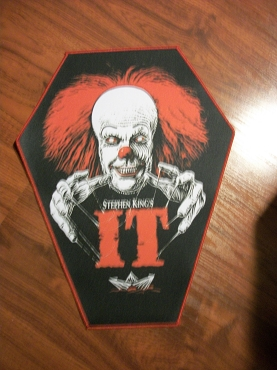 PENNYWISE STEPHEN KING (IT) HUGE COFFIN BACK PATCH EXCLUSIVE TO GHOULISH GOODIES ( ONLY 2 LEFT!)