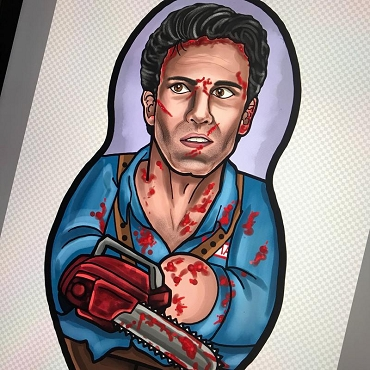 EVIL DEAD ASH WILLIAMS ONE OF A KIND 2 SIDED ARTIST DESIGNED PILLOW DOLL OR PLUSH ORNAMENT  (CHOOSE YOUR SIZE)