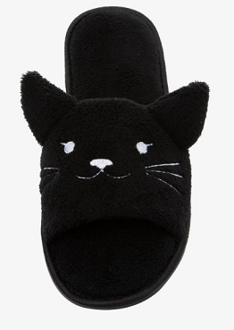 BLACK CAT FUZZY SPA SLIPPERS