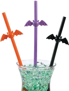 BAT SHAPED PLASTIC RE-USABLE STRAW ( ORANGE)