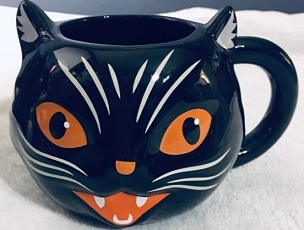 VINTAGE BEISTLE HALLOWEEN SCAREDY/SCRATCH CAT BLACK CAT MUG