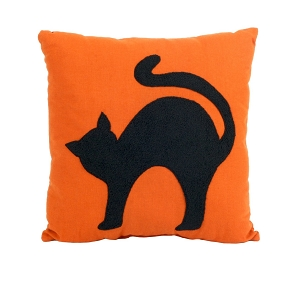 FUZZY BLACK CAT VINTAGE HALLOWEEN DESIGN THROW PILLOW