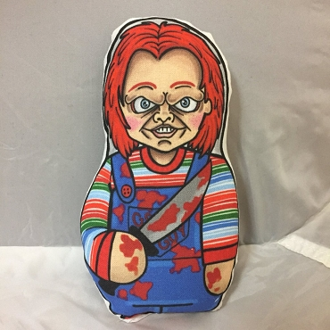 CHUCKY CHILD'S PLAY ONE OF A KIND 2 SIDED ARTIST DESIGNED PILLOW DOLL OR PLUSH ORNAMENT  (CHOOSE YOUR SIZE)