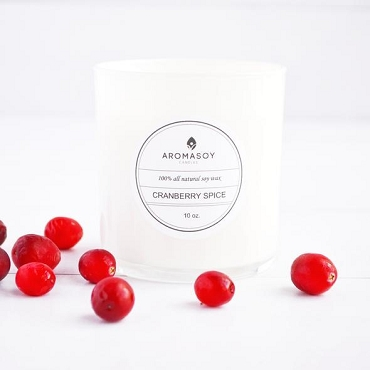CRANBERRY SPICE SOY CANDLE WHITE GLASS 10 OZ