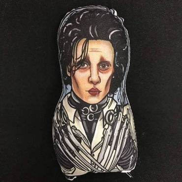 EDWARD SCISSORHANDS ONE OF A KIND 2 SIDED ARTIST DESIGNED PILLOW DOLL OR PLUSH ORNAMENT  (CHOOSE YOUR SIZE)