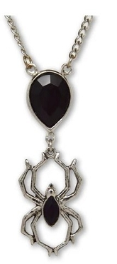 GOTHIC BLACK STONE PENDANT WITH HANGING SPIDER PENDANT NECKLACE (ONLY 1 LEFT!)