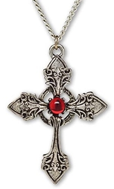 GOTHIC VAMPIRE WITCH MEDIEVAL RENAISSANCE CROSS PENDANT WITH RED STONE NECKLACE (ONLY 1 LEFT!)