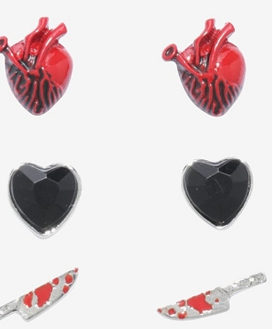 HEART COFFIN KNIFE EARRING SET OF 6 PAIRS