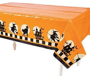 HALLOWEEN SILHOUETTE PLASTIC TABLECLOTH