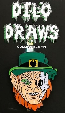 LEPRECHAUN HALF SKULL ENAMEL PIN AND FREE LIMITED EDITION STICKER VERY LIMITED STOCK ONLY 4 LEFT!