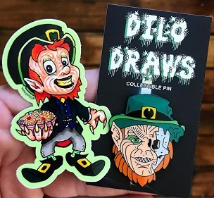 LEPRECHAUN ENAMEL KILLER 5 PIN SET EXTREMELY LIMITED AND ONLY SOLD HERE IN A SET ON GHOULISH GOODIES! ( ONLY 3 AVAILABLE)