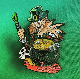 LEPRECHAUN ENAMEL PIN YELLOW GLITTER EXTREMELY LIMITED STOCK ( ONLY 4 LEFT!)