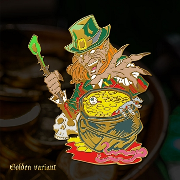LEPRECHAUN ENAMEL PIN GOLD PLATED VERY RARE OUT OF PRINT EXCLUSIVE EXTREMELY LIMITED STOCK ( ONLY 4 LEFT!)
