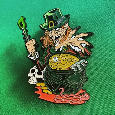 LEPRECHAUN ENAMEL KILLER 5 PIN AND SOCK SET EXTREMELY LIMITED AND ONLY SOLD HERE IN A SET ON GHOULISH GOODIES! ( ONLY 3 AVAILABLE)