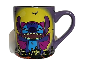 DISNEY LILO AND STITCH VAMPIRE BAT HALLOWEEN LAYERED GLITTER MUG