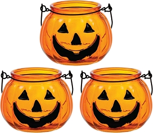 MINI RETRO JACK O LANTERN LIGHT UP TEA LIGHT CANDLE HOLDER