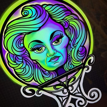 DISNEY HAUNTED MANSION MADAM LEOTA CRYSTAL BALL ONE OF A KIND 2 SIDED ARTIST DESIGNED 10