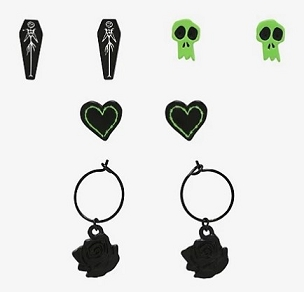 THE NIGHTMARE BEFORE CHRISTMAS GREEN ICON EARRING SET OF 6 PAIRS OF 2