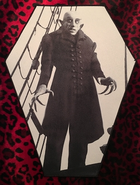 NOSFERATU COUNT ORLOK VAMPIRE HUGE COFFIN BACK PATCH EXCLUSIVE TO GHOULISH GOODIES!!!! ( ONLY 2 LEFT!)
