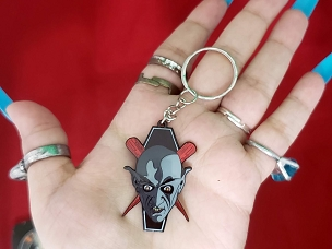 NOSFERATU COUNT ORLOK COFFIN STEAK CROSS BONES KEYCHAIN EXTREMELY RARE OUT OF PRINT AND DISCONTINUED!