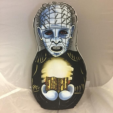 PINHEAD HELLRAISER ONE OF A KIND 2 SIDED ARTIST DESIGNED PILLOW DOLL OR PLUSH ORNAMENT  (CHOOSE YOUR SIZE)