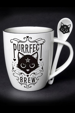 PURRFECT WITCHES BREW BLACK CAT MUG AND SPOON SET