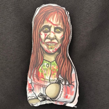 REGAN ( THE EXORCIST) BLOODY VARIANT ONE OF A KIND 2 SIDED ARTIST DESIGNED PILLOW DOLL OR PLUSH ORNAMENT  (CHOOSE YOUR SIZE)
