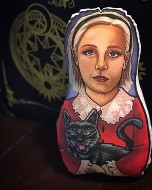 SABRINA SPELLMAN CHILLING ADVENTURES TEENAGE WITCH ONE OF A KIND 2 SIDED ARTIST DESIGNED PILLOW DOLL OR PLUSH ORNAMENT  (CHOOSE YOUR SIZE)