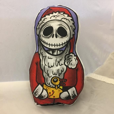JACK SKELLINGTON NIGHTMARE BEFORE CHRISTMAS SANTA  JACK ONE OF A KIND 2 SIDED ARTIST DESIGNED PILLOW DOLL OR PLUSH ORNAMENT  (CHOOSE YOUR SIZE)
