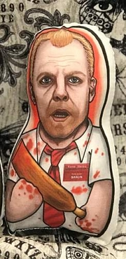 SHAUN OF THE DEAD SHAUN ONE OF A KIND 2 SIDED ARTIST DESIGNED PILLOW DOLL OR PLUSH ORNAMENT  (CHOOSE YOUR SIZE)