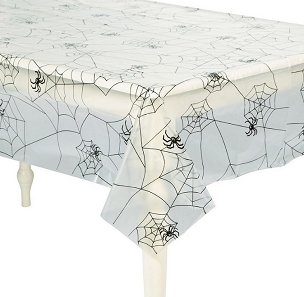 CLEAR SPIDERWEB PLASTIC TABLECLOTH