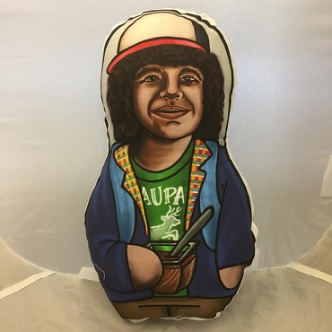 STRANGER THINGS DUSTIN ONE OF A KIND 2 SIDED ARTIST DESIGNED PILLOW DOLL OR PLUSH ORNAMENT  (CHOOSE YOUR SIZE)