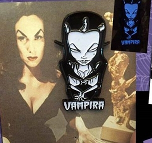 VAMPIRA GLOW IN THE DARK ENAMEL PIN RARE AND DISCONTINUED!