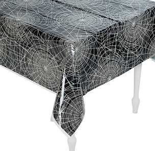 VINTAGE HALLOWEEN SPIDERWEB PLASTIC TABLECLOTH