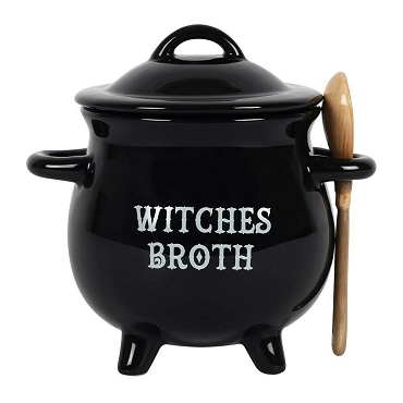 WITCHES BROTH CAULDRON BOWL WITH SPOON