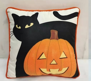 BLACK CAT AND JACK-O' LANTERN VINTAGE HALLOWEEN DESIGN THROW PILLOW