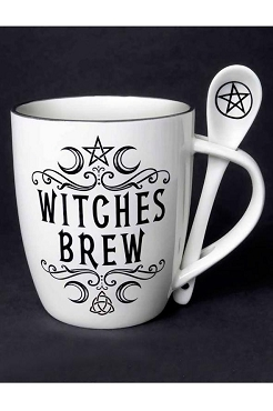 WITCHES BREW WICCA SACRED MOON TRIPLE GODDESS PENTACLE CERAMIC MUG AND SPOON SET