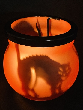 BLACK CAT SHADOW CASTER TEA LIGHT HOLDER