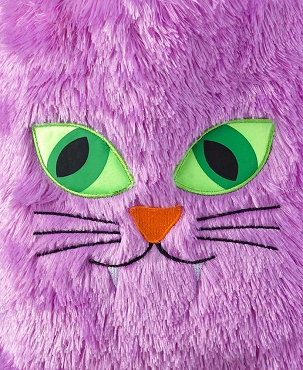 PURPLE CAT FURRY FUZZY CRAZY WACKY HALLOWEEN TRICK OR TREAT TOTE BAG PURSE
