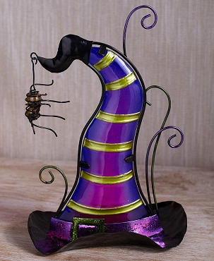 PURPLE GLASS WITCH HAT TEA LIGHT HOLDER