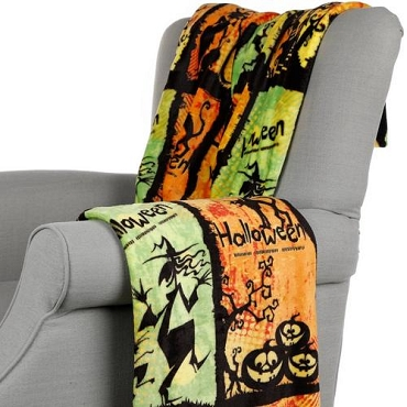 BLANKET-CREEPY COLORFUL HALLOWEEN OVERSIZED ULTRA PLUSH BLANKET THROW