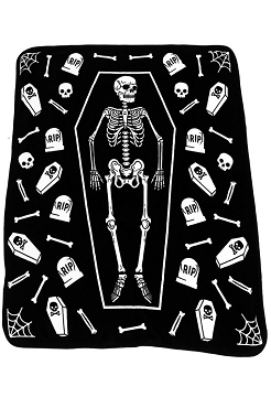 SUPER COMFY SKELETON IN COFFIN, TOMBSTONES, BONES, SPIDERWEBS, SKULLS AND COFFINS FLEECE BLANKET